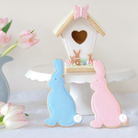 nila holden wholesale iced biscuits, easter rabbit biscuits, easter cookies, fortnum & mason biscuits, easter styling ideas,